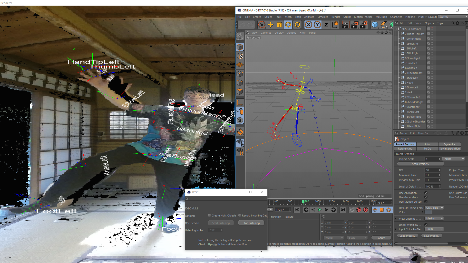 Real-time motion capture + C4D | vvvv